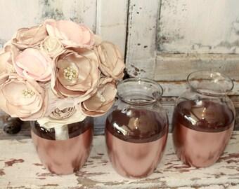 Rose gold vases, wedding decor,  Set of 4 rose gold dipped vintage bouquet vases, rose gold painted vase, wedding table decor, bouquet vase