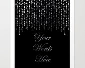 Custom Quote Print - Your Text Here - REAL SILVER FOIL - Personalized Valentines Gift for Him or for Her - Custom Typography Wall Art