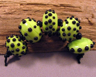 Handmade Lampwork Beads by Monaslampwork - Hot Lime - Lampwork Glass Beads by Mona Sullivan Precision Dots Autumn Fall Boho Organic Gypsy