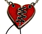 Lace Up Heart Ceramic Necklace with Chain (Slightly thinner version)