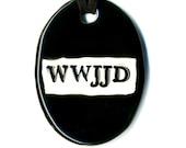 WWJJD Ceramic Necklace in Black
