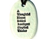 Atheist Ceramic Necklace in Crackle
