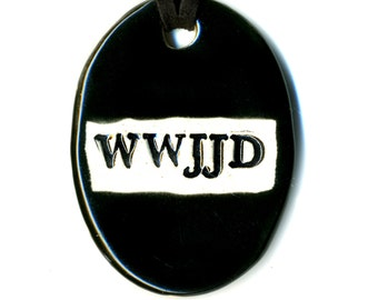 WWJJD Ceramic Necklace in Black