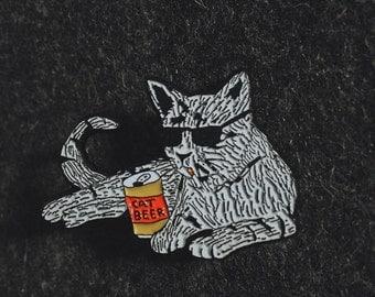 Cat beer- soft enamel pin
