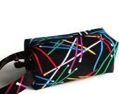 Boxy Bag Knitting Project Bag - Bright Knitting Needles on black
