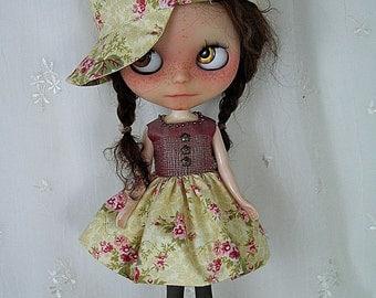 Blythe Doll Dress,  Hat,  Dress. Cotton n Silk