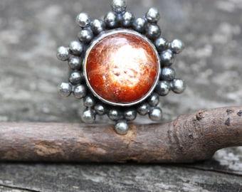 Oregon sunstone sterling silver ring size 6.5