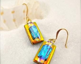 Dichroic glass Earrings, Fused dichroic earrings, women's handmade jewelry, Hana Sakura, glass fusion, orange earrings, tropical earrings