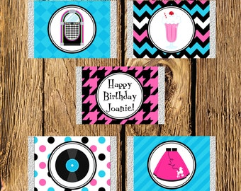 Printable 50s Sock Hop Birthday Mini Candy Bar Wrappers