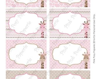 Printable Giraffe Girl Baby Shower Food Labels - Instant Download