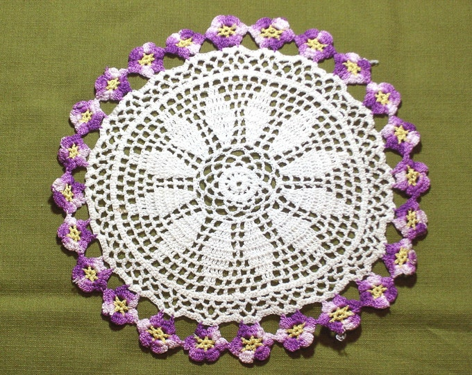 Flower Pattern Vintage Crocheted Lace Doily 12 inch Purple Yellow