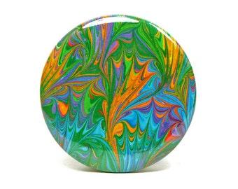 Marbled Magnet 14 Rainbow Marbled Paper 2.25 inch Round Magnet - Office, Kitchen, Locker - Gifts Under 5 Dollars
