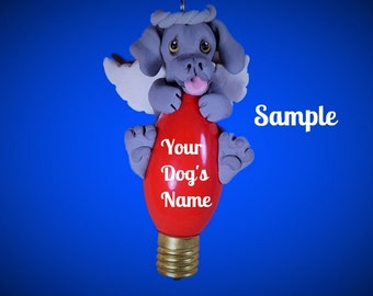 Weimaraner Angel Dog Christmas Holidays Light Bulb Ornament Sally's Bits of Clay PERSONALIZED FREE with dog's name