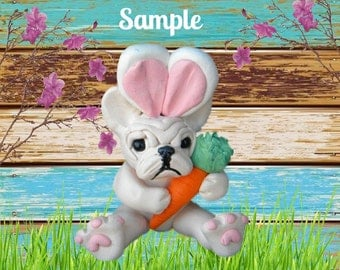 Light Cream / white French Bulldog Easter Bunny with Carrot OOAK Polymer Clay art sculpture by Sallys Bits of Clay