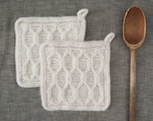 Set of Two Felted Potholders Wool Hot Pads  Felt Trivet  Functional Art  Modern Kitchen  Hand knit Texture in Soft White Floating Hexagons