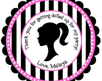 Girl Stickers, Party Favor, Girl Birthday, Address Labels, Gift Tags, Barbie, Stripes, Polka Dots- Set of 12