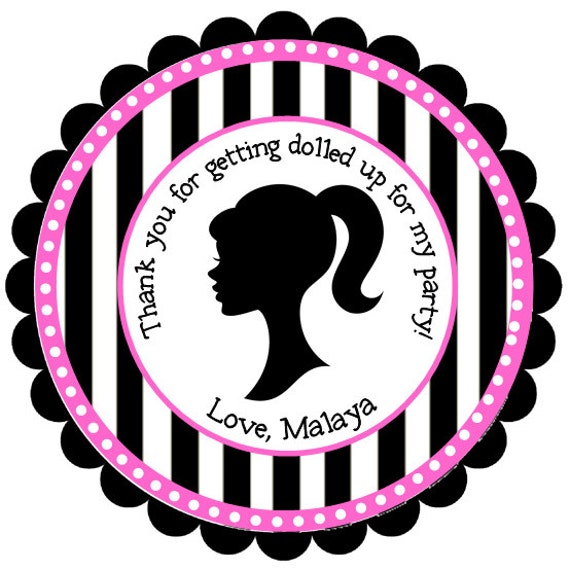 Barbie Stickers, Party Favor, Girl Birthday, Address Labels, Gift Tags, Barbie, Stripes, Polka Dots- Set of 12