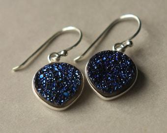 SALE Druzy Earrings, Blue Druzy Earrings, Silver Druzy Jewelry, Metallic Jewelry, Druzy Jewelry, Druzy Jewellery