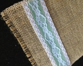 Burlap Ruunner with Green Ribbon and Lace
