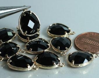 Promotion SALE 25% off Framed black glass drop charm connector, earring componenet, necklace pendant, 2 pcs (item ID G50N14GP)