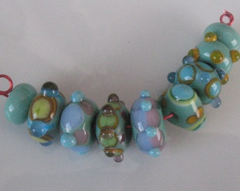 Lampwork beads handmade lampwork set of 9 beads beading supplies jewelry supplies loose beads