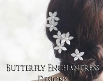 SALE Wedding Hair Flowers, Bridal Hair Accessories, White Ivory Bridesmaid Gift - 6 Thea Stephanotis Bridal Hair Pins - Rhinestone Centers