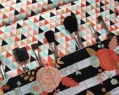 Custom order for Ashton, Makeup brush holder , makeup brush roll, Crochet hook organizer, Floral