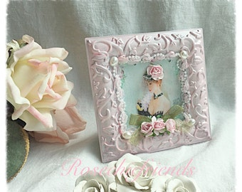 Framed Victorian Lady Woman Vintage Image Ecs Shabby Chic Roses Pink Blue sct schteam svfteam