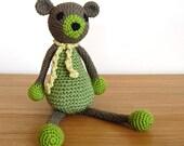GreenTeddy Bear, Knit Teddy Bear, Handmade Teddy Bear, Baby Gift, Baby Shower Gift, Newborn Gift, Soft Teddy Bear, Boy Gift, Girl Gift
