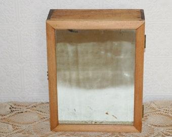 Handmade vintage wooden mirror  cabinet