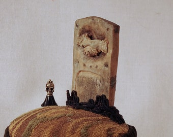 Victorian Tombstone Pincushion: Stoneware Grave Marker on a Vintage Tapestry Tuffet- MOSS