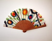 Handpainted Silk hand fan-Wedding hand fan-Giveaways-Bridesmaids-Spanish hand fan-14 x 7.5 inches (35 cm x 19 cm)