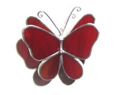 Rosy Wings - 3D Stained Glass Butterfly Twirl - Mini Red Hanging Suncatcher Home Garden Decor Christmas Ornament (READY TO SHIP)