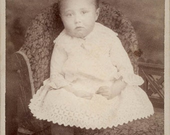 vintage photo 1875 CDV B.F. Marsh Greeley Colorado Baby Girl Lace Dress Boots