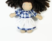 Waldorf doll clothes 10 inch doll snowman dress with optional white apron, Christmas doll dress, cotton doll clothing, winter doll dress