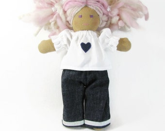 12 inch doll clothing, white top denim pants doll outfit, Waldorf doll clothing, heart patch white shirt with sparkle trim jeans for dolls