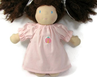 Pink Cotton Nightgown for your 10 to 12 inch Waldorf Doll, Light Pink Toy Nightgown, baby doll nightgown