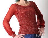 Red womens top, Red sheer sleeved top, Sparkly red top, Womens tshirts, Womens tees, Womens clothing, Red long sleeve top, MALAM, UK12