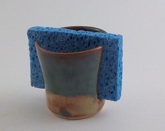 Stoneware Sponge Holder - Ceramic Sponge Drying Bowl - Napkin Caddy - Kitchen Essential - Ready to Ship - Shino and Mossy Blue Green h416