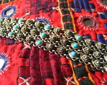 Very pretty delicate filigree 950 silver bracelet with turquoise stones