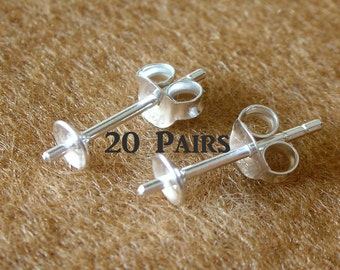 925 Sterling Silver PAD Earring Post with PEG and Earring Backs (4 mm.) - 20 Pairs (40 Pieces)