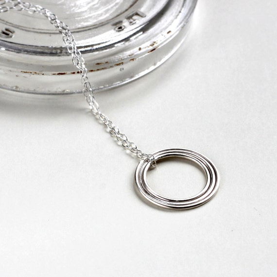Concentric Circle Long Necklace - Sterling Silver Circle Necklace