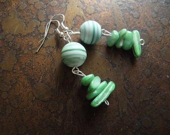 Freshness Glass and Lampwork Beaded Dangle earrings