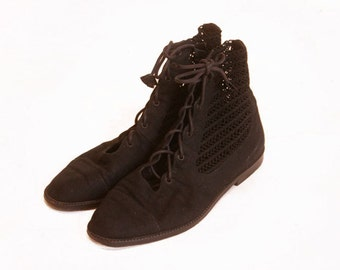 Vintage 1990s Petra Firenze Black Lace and canvas boots size 7.5M