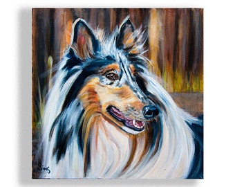 Dog Art Print, Blue Merle Rough Collie, Wall Art for Farmhouse Animal Decor size matting options