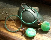 Hammered Green Agate stone earrings Large green patina Copper Hoop earrings Dangle earrings Green patina earrings Hoop earrings