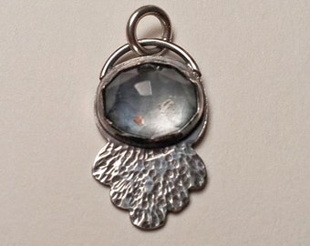 CS16 - Little Gray Drop by littlebirdlove - Vintage Rhinestone and Sterling Silver Charm Pendant