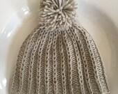 100% Cashmere Baby Beanie. Pom pom. Hand knit. Platinum.