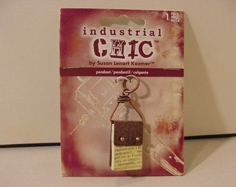 Industrial Chic Pendant JS#253 tiny copper, paper booklet 5 cm long | jeweler's de-stash new on card unused | boho urban street Indie