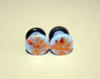 4g Light Pastel Blue and Orange pattern glass EAR plugs BODY JEWELRY 5mm handmade new 4 gauge